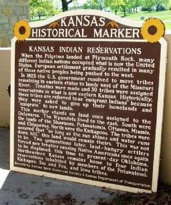 Kansas Indian Reservations Marker image. Click for full size.