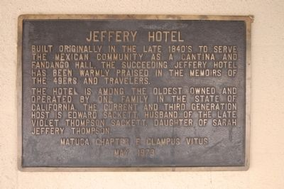 Jeffery Hotel Marker image. Click for full size.