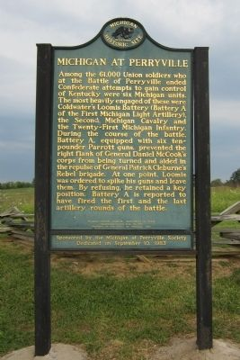Michigan at Perryville Marker (side 1) image. Click for full size.