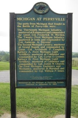 Michigan at Perryville Marker (side 2) image. Click for full size.