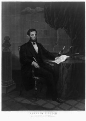 Abraham Lincoln. President of the United States. Signing the Emancipation Proclamation image. Click for full size.