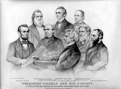President Lincoln and his cabinet: in council, Sep 22, 1862. Adopting the Emancipation Proclamation image. Click for full size.
