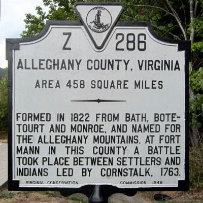 Alleghany County, Virginia Marker (reverse) image. Click for full size.