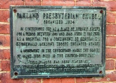 Oakland Presbyterian Church UDC Marker image. Click for full size.