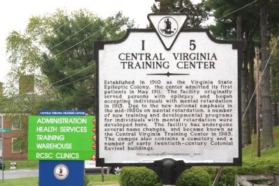 Central Virginia Training Center Marker image. Click for full size.