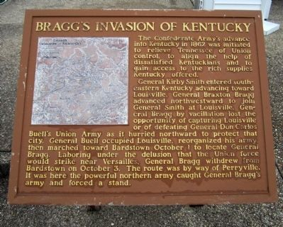 Bragg's Invasion Of Kentucky Marker image. Click for full size.