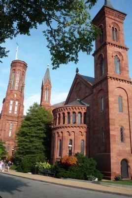 Original Smithsonian Institution Building - northwest corner, viewed from across Jefferson Drive. image. Click for full size.