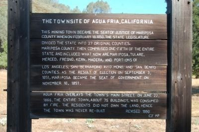The Townsite of Agua Fria, California Marker image. Click for full size.