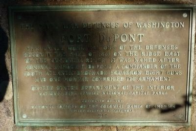 Fort DuPont Marker, close-up of Panel 1 image. Click for full size.