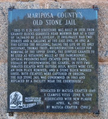 Mariposa County's Old Stone Jail Marker image. Click for full size.