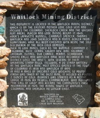 Whitlock Mining District Marker image. Click for full size.