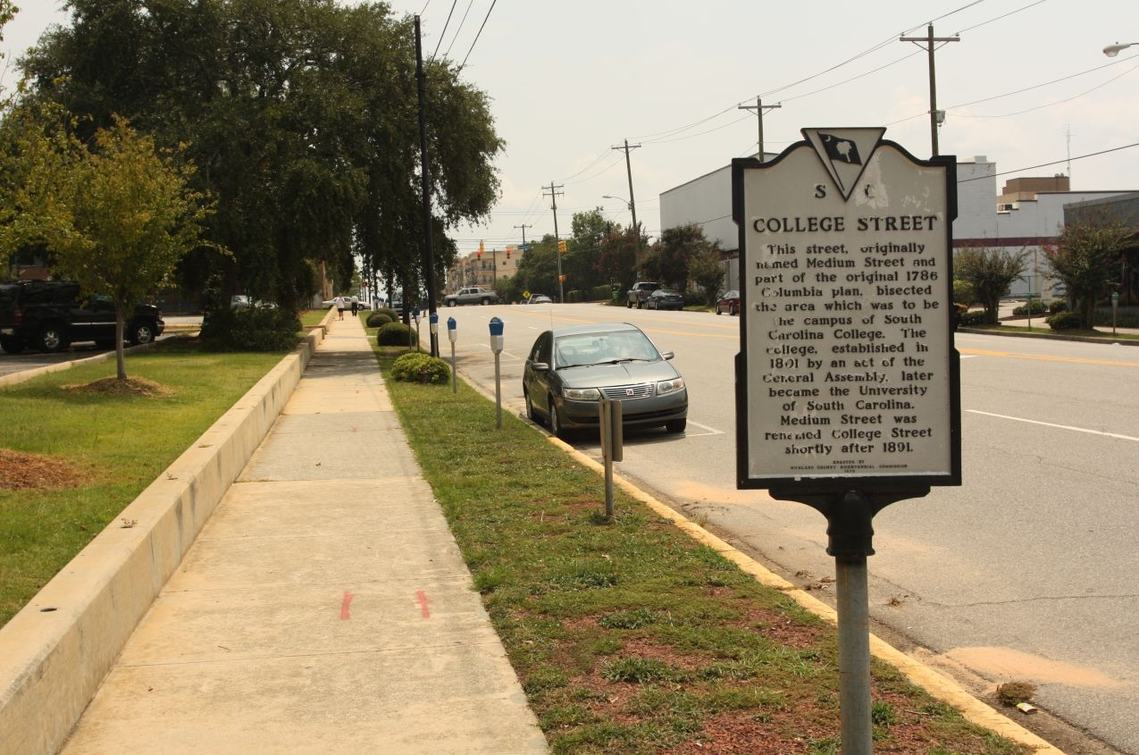 College Street Marker, looking south along Main Street