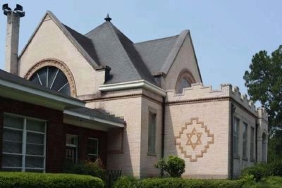 Lawtonville Church , looks like the Hebrew Star of David on the east wall image. Click for full size.