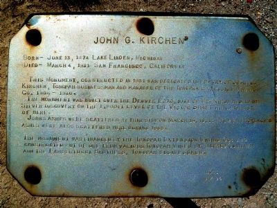 John G. Kirchen Marker Text image. Click for full size.