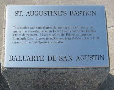 St. Augustine's Bastion Marker image. Click for full size.