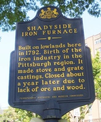 Shadyside Iron Furnace Marker image. Click for full size.