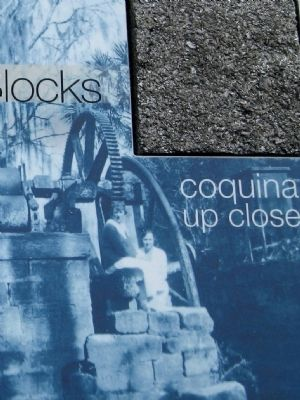 Marker close-up: Coquina block and photo of coquina machine base image. Click for full size.