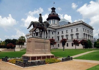 Wade Hampton Statue<br>S.C. Statehouse (Southwest Corner)<br>In Background image. Click for full size.