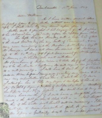 Marker close-up: John Marshall letter, 11th June 1849 image. Click for full size.