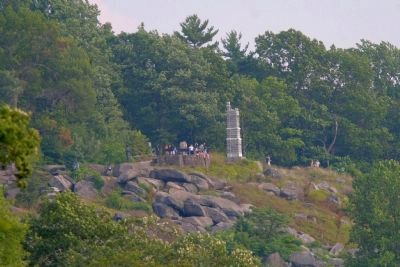 LIttle Round Top with telephoto lens equivalent to typical field binoculars image. Click for full size.
