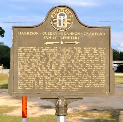 Harrison-Guerry-Brannon-Crawford Family Cemetery Marker image. Click for full size.