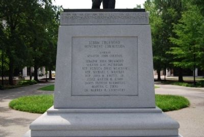 Strom Thurmond Statue Base<br>North Inscription<br>Strom Thurmond Monument Commission image. Click for full size.