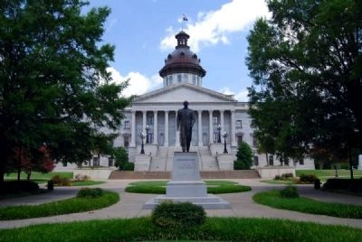 Strom Thurmond Statue<br>South View<br>S.C. Statehouse in Background image. Click for full size.