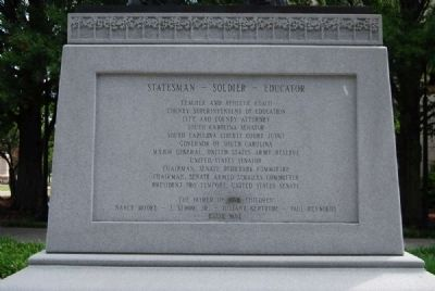 Strom Thurmond Statue Base<br>West Inscription<br>Statesman - Soldier - Educator image. Click for full size.