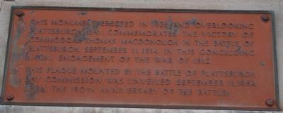 MacDonough Monument 's Plaque image. Click for full size.