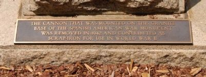 Spanish-American War Cannon Plaque image. Click for full size.