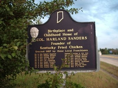 Obverse Side - - Birthplace and Childhood Home of Col. Harland Sanders Marker image. Click for full size.