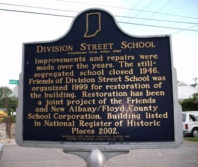 Side 'Two' - - Division Street School Marker image. Click for full size.