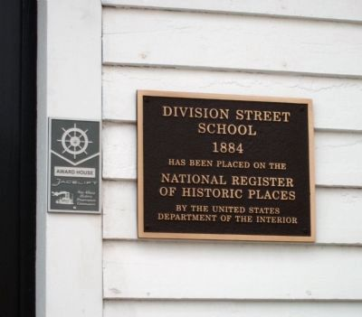 Plaque at 'Division Street' Entrance - - National Register of Historic Places image. Click for full size.