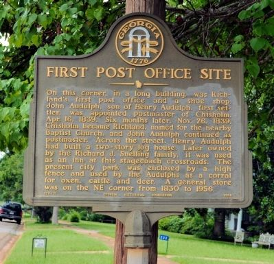 First Post Office Site Marker image. Click for full size.