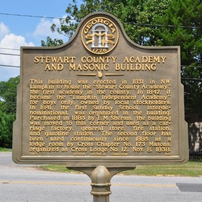 Stewart County Academy and Masonic Building Marker image. Click for full size.