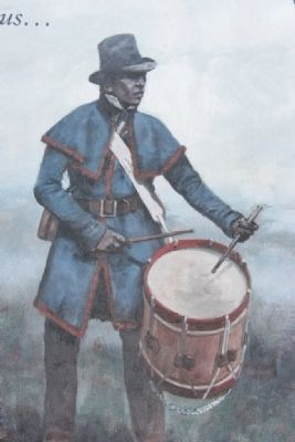African American Soldier sounding the long roll. image. Click for full size.