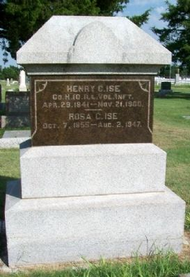 Grave Marker for Henry & Rosa Ise image. Click for full size.