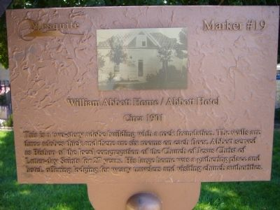 William Abbott Home/Abbott Hotel Marker image. Click for full size.