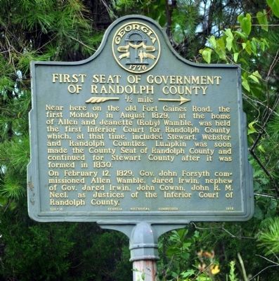 First Seat of Government of Randolph County Marker image. Click for full size.