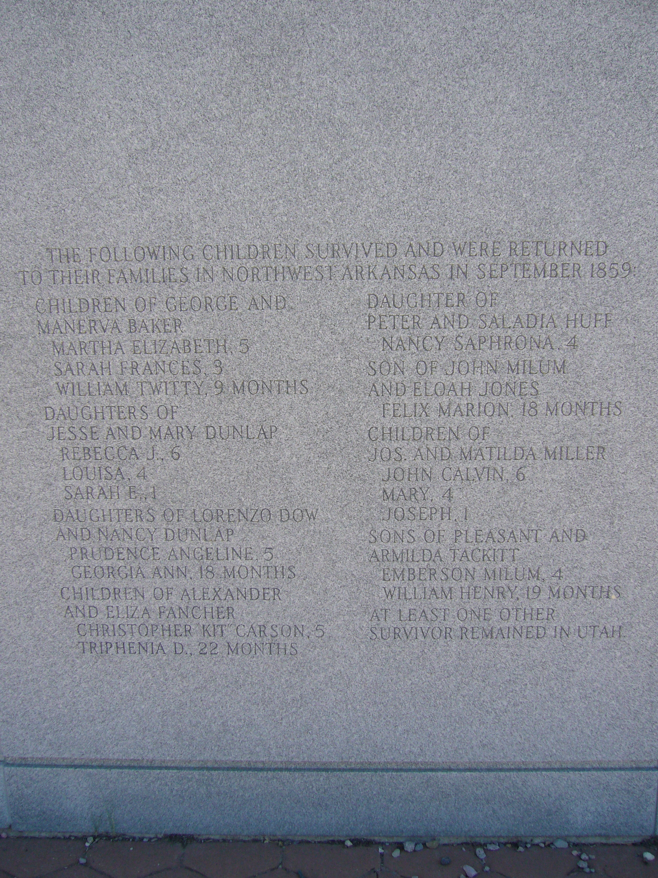 1990 Mountain Meadows Monument Marker