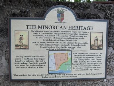 The Minorcan Heritage Marker image. Click for full size.