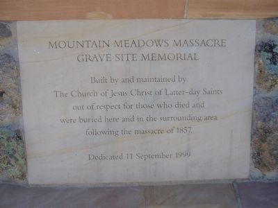 Mountain Meadows Massacre Grave Site Memorial Marker image. Click for full size.