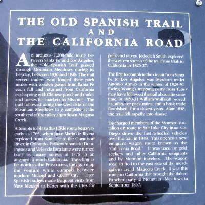 The Old Spanish Trail and The California Road Marker image. Click for full size.