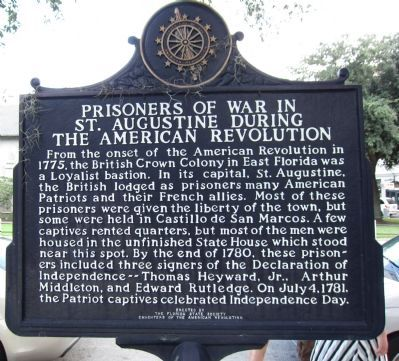 Prisoners of War in St. Augustine During the American Revolution Marker image. Click for full size.
