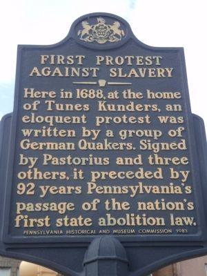 First Protest against Slavery Marker image. Click for full size.