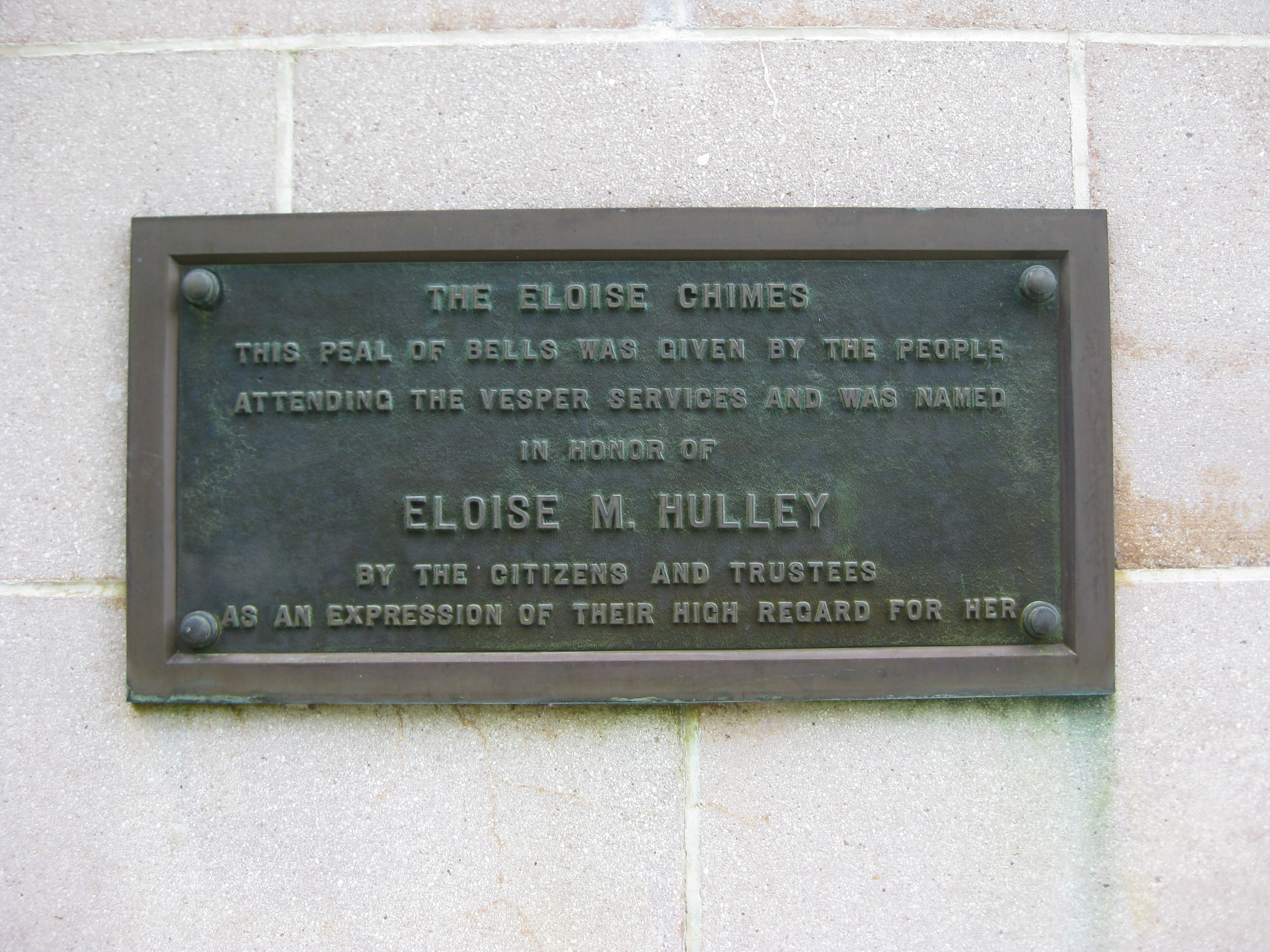Hulley Tower Plaque