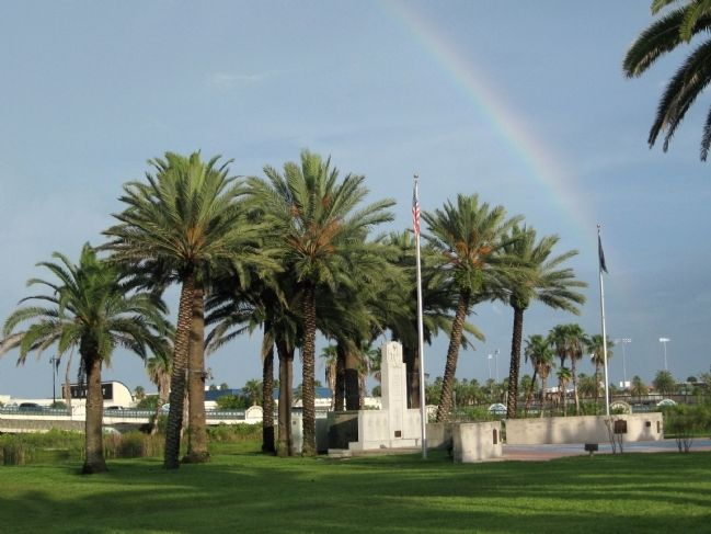 Rainbow over the Veterans Memorial Plaza image. Click for full size.