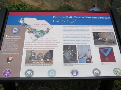 Patriot's Hall: Oconee Veterans Museum Marker image. Click for full size.