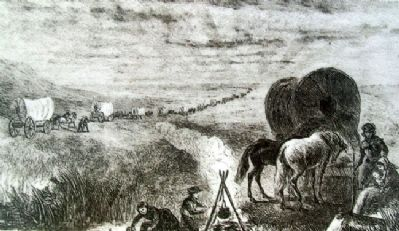 Lithograph on The Overland Trails Marker image. Click for full size.
