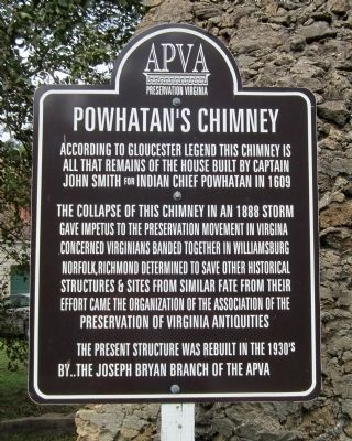 Powhatan's Chimney Marker image. Click for full size.